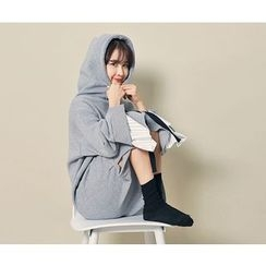 HOTPING - Slit-Side Hooded Pullover Dress