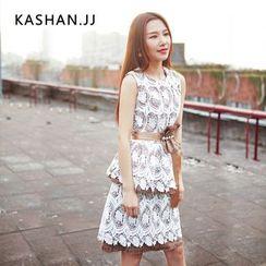 KASHAN - 套裝:無袖蕾絲長上衣 + 鉛筆裙