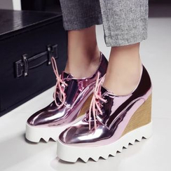 JY Shoes - Metallic Wedge Oxfords