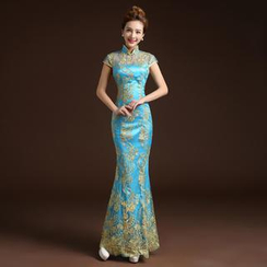 Posh Bride - Embroiderd Cap-Sleeve Mermaid Cheongsam
