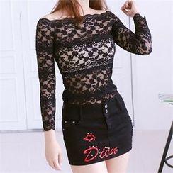 clubber - Stud-Trim Mini Skirt