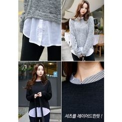 DEEPNY - Shirt-Collar Layered Knit Top