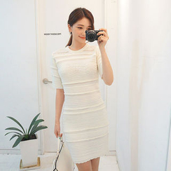 chuu - Wool Blend Pointelle-Knit Sheath Dress