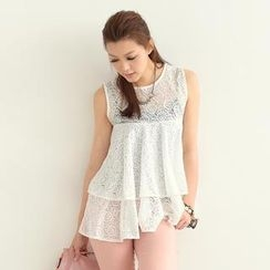 SO Central - Sleeveless Empire A-Line Lace Top
