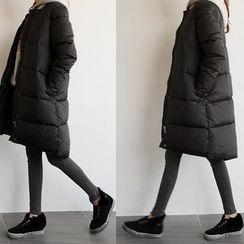 NIPONJJUYA - Collarless Snap-Button Long Puffer Coat