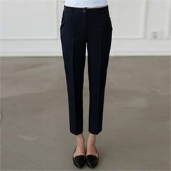 CHICFOX - Flat-Front Tapered Pants