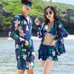 rosiwini - Printed Swim Shorts / Set: Patterned Bikini + Skirt + Jacket