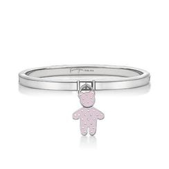 Kenny & co. - Pink Dot Pattern Bear Charm With Steel Bangle