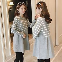 Mamaladies - Maternity Long-Sleeve Striped Panel Top