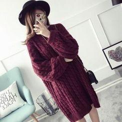 Qimi - 長袖麻花針織連衣裙