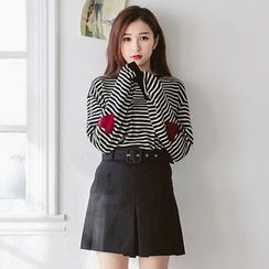 Tokyo Fashion - Heart Striped Knit Pullover