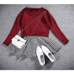 Doll House - Set: Pointelle Knit Sweater + Houndstooth Knit Skirt