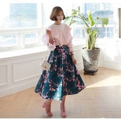 Miamasvin - Flower Pattern Long Flare Skirt