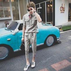 Manne - Set: Short-Sleeve Sports Top + Capri Pants