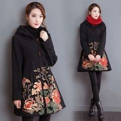 Diosa - Flower Embroidered Long Hooded Jacket