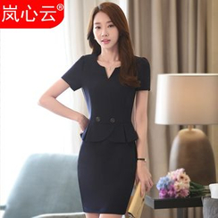 Skyheart - Short-Sleeve Peplum Dress / Blazer