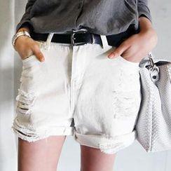 NANING9 - Cotton Distressed Shorts