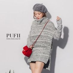 PUFII - Turtleneck Marled Long Sweater