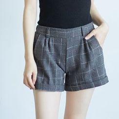 BAIMOMO - 翻边格子短裤