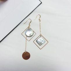 Gold Beam - Non-matching Scallop Drop Earrings