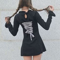 Cloud Nine - Lace-Up Back Long Sleeve A-Line Minidress