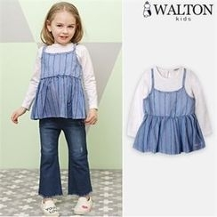 WALTON kids - Girls Ruffle-Hem Layered Top