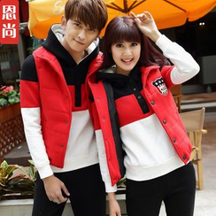 Igsoo - Set: Matching Couple Padded Vest + Color-Block Hooded Pullover + Sweatpants