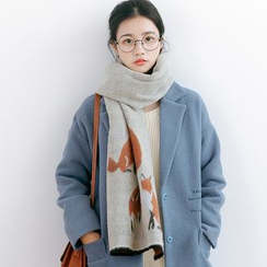 Forest Girl - Fox Print Knit Scarf