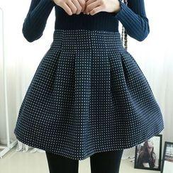 Dodostyle - Patterned Band-Waist A-Line Skirt