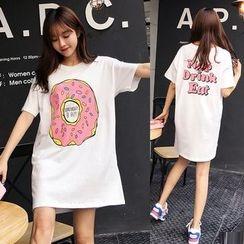 Au Naturel - Donut Print Short Sleeve T-Shirt Dress