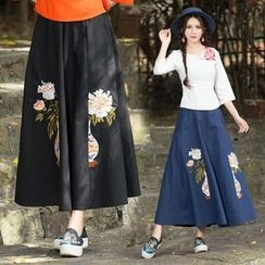 Diosa - Flower Embroidered Maxi Skirt