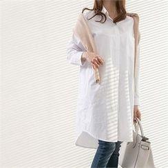 PEPER - Drop-Shoulder Pocket-Front Long Shirt