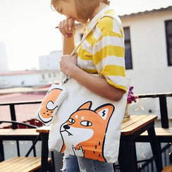 Youme - Animal Canvas Shopper Bag with Pouch