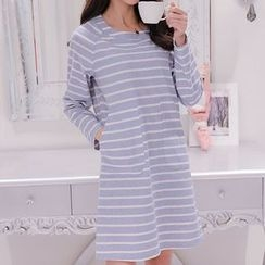 Q.C.T - Stripe Long-Sleeve Dress