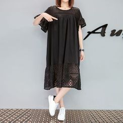 VIZZI - Short-Sleeve Paneled Cutout Dress