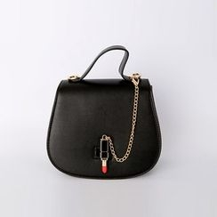 DABAGIRL - Lipstick-Closure Round Shoulder Bag