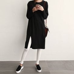 NIPONJJUYA - Slit-Hem Cotton T-Shirt Dress