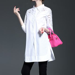 Alaroo - 3/4-Sleeve Lace Panel Shirtdress