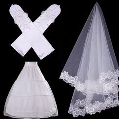 MSSBridal - Bridal Set: Wedding Veil + Gloves + Petticoat Crinoline