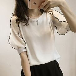 Little V - Elbow Sleeve Panel Chiffon Blouse