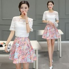 EFO - Set: Lace Top + Printed Skirt