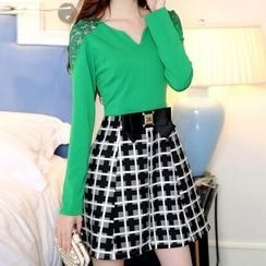Ekim - Long Sleeved V-Neck Mock Two-Piece Plaid Dress