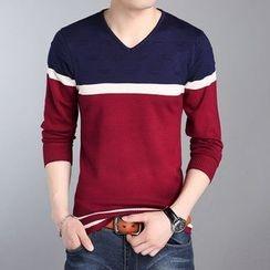 DUKESEDAN - Colour Block V-neck Knit Top