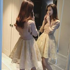 ANGELA - Set: Plain Cardigan  + Sleeveless A-Line Dress