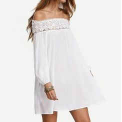 Rebecca - Off-shoulder Lace Panel Long-Sleeve Chiffon Dress