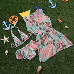 Sweet Splash - 小童套裝: 印花比基尼泳衣 + 外罩連衣裙