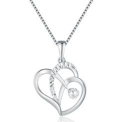 MaBelle - 14K White Gold Open Heart with Diamond Cut Necklace (16'')