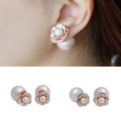 Gioia - Pearl Floral Through & Through Earrings
