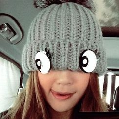 Mad Hatter - Eye Accent Pompom Beanie