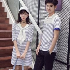 Proemio - Striped Polo Shirt / Short-Sleeve Striped Dress